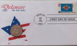 1999 BICENTENNIAL ISSUE DELAWARE FIRST DAY OF ISSUE QUARTER SET