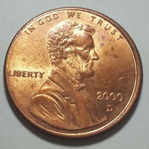 2000 D LINCOLN MEMORIAL PENNY SLIGHTLY OFF CENTER OBVERSE ERROR COIN