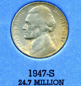 1947 S JEFFERSON NICKEL   US AMERICAN OLD NCIE 5 CENT COINFIVE A3550