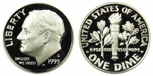 SILVER 1993 S GEM BU PROOF ROOSEVELT DIME 10 CENT PF UNCIRCULATED US COIN3003