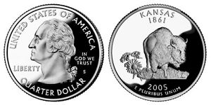 SILVER 2005 S GEM BU PROOF KANSAS STATE QUARTER UNC UNCIRCULATED COIN PF 3190