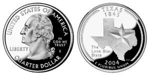 SILVER 2004 S GEM BU PROOF  TEXAS  STATE QUARTER UNCIRCULATED PF COIN3023