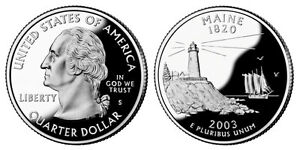 SILVER 2003 S GEM BU PROOF MAINE STATE QUARTER  UNCIRCULATED COIN3535