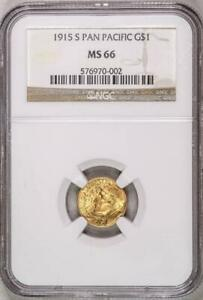 1915 S PAN PAC GOLD DOLLAR G$1 MS66 NGC PANAMA PACIFIC COMMEMORATIVE 2756