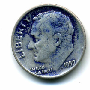 1957 D ROOSEVELT DIME SILVER 10 CENT SHARP ABOVE AVERAGE DETAIL NICE COIN183