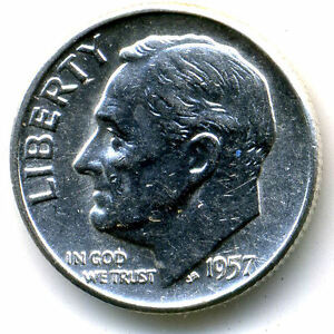 1957P CH BU ROOSEVELT DIME SILVER 10 CENT SHARP BRILLIANT UNCIRCULATED COIN1364