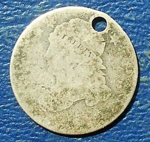 .892 SILVER ND 1828 1837 CAPPED BUST DIME 10 CENTS WELL CIRCULATED HOLED  BB 15