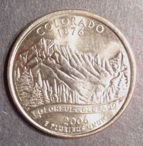 2006 D COLORADO STATE  CO  QUARTER UNCIRCULATED FROM BANK ROLLS  STATE QUARTERS