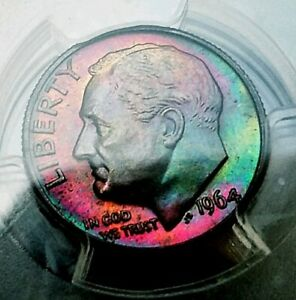 Click now to see the BUY IT NOW Price!   PCGS MS67FB   1964 D  ROOSEVELT DIME2 SIDED MONSTER RAINBOW TONED