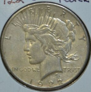 1922 S AU ALMOST UNCIRCULATED PEACE SILVER DOLLAR $1 COIN