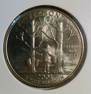 2001 P VERMONT STATE  VT  QUARTER UNCIRCULATED FROM BANK ROLLS  STATE QUARTERS