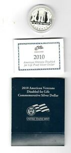 2010 W AMERICAN VETERANS DISABLED FOR LIFE COMMEMORATIVE SILVER DOLLAR US MINT