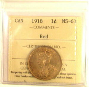 1918   CANADA LARGE 1 CENT  ICCS GRADED MS 63;  RED