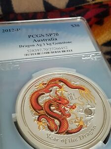 Click now to see the BUY IT NOW Price! 2012 P PCGS SP70 AUSTRALIA DRAGON 1 KILO GEMSTONE EYE POP 1