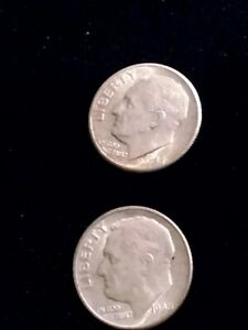 LOT OF 2 ROOSEVELT DIMES   1948 D & 1948 S    HIGH GRADE LOOK.. SILVER