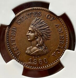 1860 SMITH AND HARTMANN COPPER MILLER NY 817 NGC MS64BN