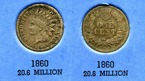 1860 INDIAN HEAD US CENT ONE PENNY 1 CENT KEY DATE  COIN INDIANCENT AMERICAN