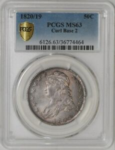 Click now to see the BUY IT NOW Price! 1820/19 CAPPED BUST HALF 50C O 102 R.1  MS63 SECURE PLUS PCGS   939020 1