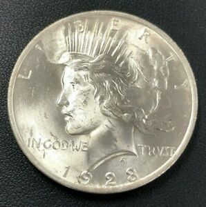 1923 PEACE SILVER DOLLAR   UNCIRCULATED   LAMINATION PEEL OBVERSE