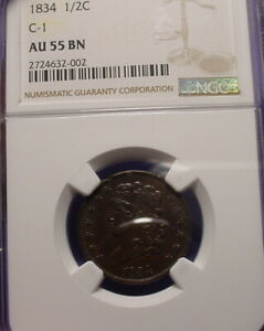 1834 HALF CENT   NGC AU 55   BN   GREAT TYPE COIN   BDD 348