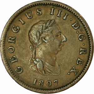 [677019] COIN GREAT BRITAIN GEORGE III 1/2 PENNY 1807 VF COPPER KM:662