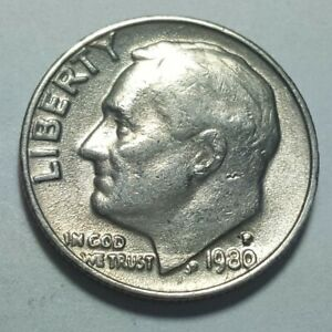 1980 P ROOSEVELT DIME 10C MACHINE DOUBLING DIE ON LIBERTY ERROR COIN