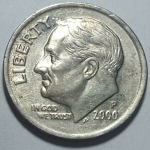 2000 P ROOSEVELT DIME 10C DIE DETERIORATION DOUBLING ON DATE ERROR COIN