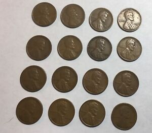 WHEAT CENT 30S &40S D&S LOT OF 16 CIRCULATED