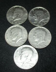 LOT OF 5 1972 D KENNEDY HALF DOLLARS