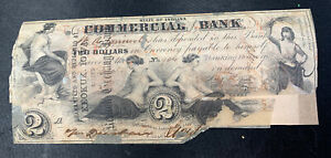 1858 $2 COMMERCIAL EXCHANGE BANK   TERRE HAUTE INDIANA NOTE   REPAIRED