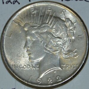 1922 P AU ALMOST UNCIRCULATED PEACE SILVER DOLLAR $1 COIN