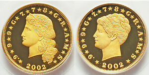 2  2002 LIBERIA $40 STELLA  GOLD PCGS 69DCAM COILED & FLOWING HAIR LOW MINTAGE