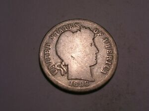 1898 S BARBER DIME  BETTER DATE & ATTRACTIVE