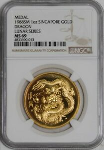 Click now to see the BUY IT NOW Price! 1988 SM SINGAPORE GOLD MEDAL DRAGON LUNAR SERIES MS69 NGC  942139 12
