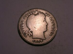 1907 D BARBER DIME  ATTRACTIVE