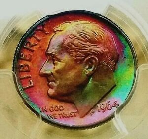 Click now to see the BUY IT NOW Price!   PCGS MS67FB   1964 D  ROOSEVELT DIME2 SIDED SPECTACULAR RAINBOW TONED