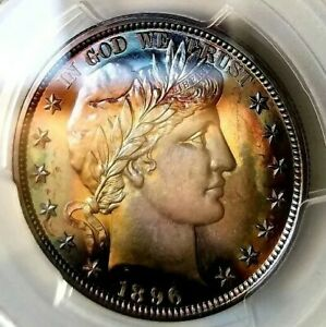 Click now to see the BUY IT NOW Price!   PCGS PR67   1896  BARBER HALF A MASTERPIECE INCREDIBLE RAINBOW TONED