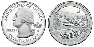 2014 S GEM BU PROOF GREAT SMOKY MOUNTAINS NATIONAL MT PARK STATE QUARTER COIN PF