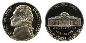 2002 S GEM BU PROOF JEFFERSON NICKEL 5 CENT BRILLIANT UNCIRCULATED US COIN PF