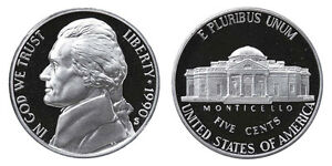 1990 S GEM BU PROOF JEFFERSON NICKEL 5 CENT BRILLIANT UNCIRCULATED US COIN PF