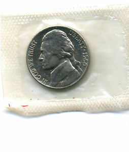 1960 P GEM BU JEFFERSON NICKEL BRILLIANT UNCIRCULATED GOVERNMENT SEALED 5C COIN