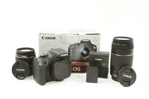 USED CANON REBEL T6 DSLR 18.0MP CAMERA W/18 55MM IS II & 75 300MM LENSES