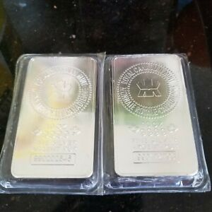 TWO  2  10 OZ. RCM SILVER BAR   ROYAL CANADIAN MINT .9999 FINE