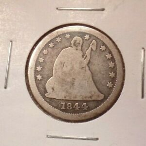 1844 O LIBERTY SEATED QUARTER SILVER COIN GOOD CONDITION DECENT REVERSE