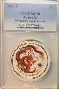 Click now to see the BUY IT NOW Price! 2012 P $30 AUSTRALIA 1 KILO SILVER DRAGON COLORIZED GEMSTONE RUBY PCGS MS 70