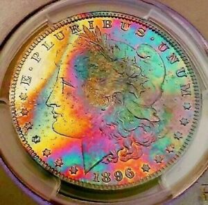 Click now to see the BUY IT NOW Price!   PCGS MS65   1896  MORGAN DOLLAR  AMAZING RAINBOW TONED MY DAHLIA