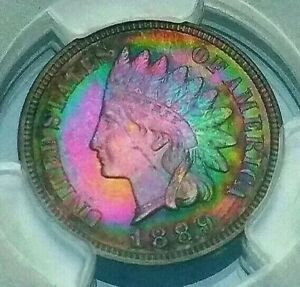 Click now to see the BUY IT NOW Price!   PCGS PR64RB  CAC   1889  INDIAN CENT2 SIDED RAINBOW TONE  PAINTED FEATHERS