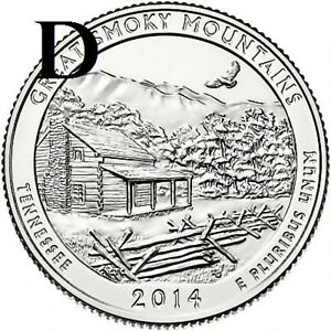 2014 D  UNCIRCULATED  GREAT SMOKY MTNS.; TENNESSEE ATB QUARTER US QUARTER DOLLAR