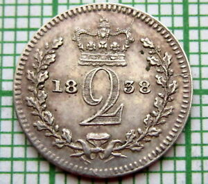 GREAT BRITAIN QUEEN VICTORIA 1838 MAUNDY & COLONIAL ISSUE 2 PENCE SILVER AUNC
