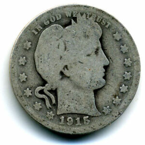 1915 P BARBER QUARTER DOLLAR LOW MINTAGE SILVER   25 CENT COIN US415